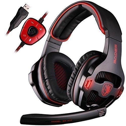 SADES SA903 7,1 canal Surround estéreo Gaming auriculares ruido cancelación LED luz USB cableado sobre oído PC Gaming auricular (negro & rojo)