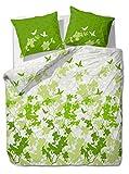 etérea Baumwolle Bettwäsche - Osaka Schmetterlinge - weich und pflegeleicht, 2 teilig 135x200 cm + 80x80 cm, Grün