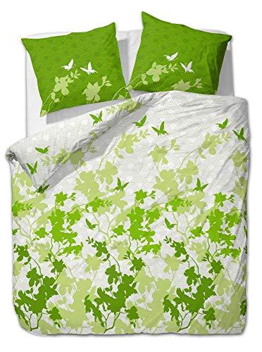 Etérea 2 TLG Renforcé Baumwolle Bettwäsche Osaka Schmetterlinge Grün, 155x200cm + 80x80 cm