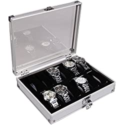Kobwa(TM) Aluminium 12 Watch Display Case Box Wristwatch Showcase with Kobwa's Keyring