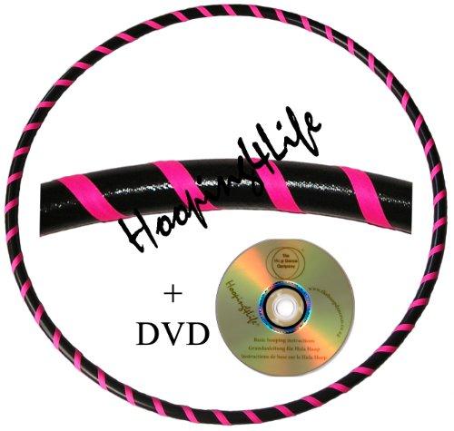 Hooping4Life Schwarz u. Rosa Fluoreszierender Hula Hoop Reifen für Training u. Tanz; Größe ca. 101 cm, Gewicht ca. 650 g