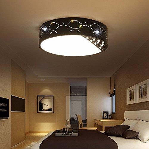 Preisvergleich Produktbild XQK Moderne Deckenleuchte einfache,  helle,  runde LED-Deckenleuchte Schmiedeeisen Lampe warm Gang Schlafzimmer Lampen Wohnzimmer warmes Licht 36W black box D500
