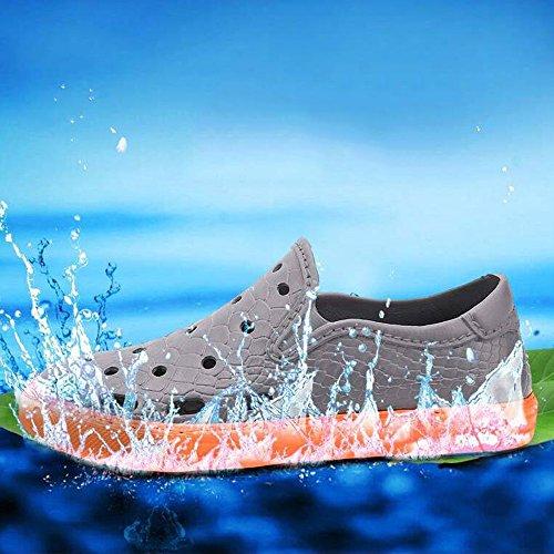Eastlion Herren Sommer EVA Loch Schuhe Outdoor Garten Strand Schuhe Anti-Rutsch Doppel-Farbe Sandalen Schwarz
