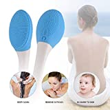 Spazzola da bagno elettrica, Massaggio per la pulizia del corpo Soft Long Handle Bath Spa Massage Strumento esfoliante per uomini, donne, bambini Cura della pelle (Blu)