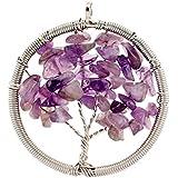 Contever® Colgantes de Joyas de Natural AmatistaVida árbol De La Collar del Encanto para las Niñas y las Mujeres