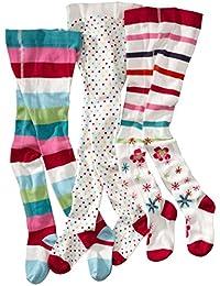 wellyou, Kinder-Strumpfhosen für Mädchen 3er Set, Baby-Strumpfhosen ecru, hoher Baumwoll-Anteil, Größe 62 – 146