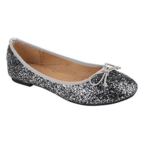 Klassische Damen Ballerinas | Flats Leder-Optik Lack | Metallic Schuhe Glitzer Schleifen | Ballerina Schuhe Übergrößen Silber Glitzer