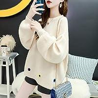 IJL Sen Jerseys Prendas de Vestir Exteriores Prendas de Vestir Modelos de Marea otoño e Invierno suéter de Punto Salvaje Blanco M