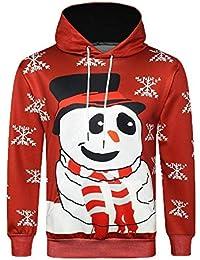 c05866290d512 HhGold Sudadera con Capucha roja de Gran tamaño con Capucha roja para  Hombre Navidad