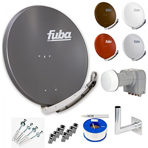 Fuba Digital HDTV Sat-Anlage 4 Teilnehmer | Fuba DAA 850 Premium Aluminium Sat-Antenne in Wunschfarbe + DEK 416 Quad LNB + Fuba DAZ Winkelwandhalter + 100m Fuba KKE 740 Koaxialkabel Sat-hdtv-antenne