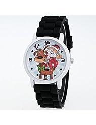 OverDose Weihnachten Geschenke Kinder Farbe Mode Uhr Silikon Bügel Armbanduhr (Schwarz)