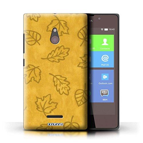 Kobalt® Imprimé Etui / Coque pour Nokia XL / Pourpre conception / Série Motif Feuille/Effet Textile Jaune