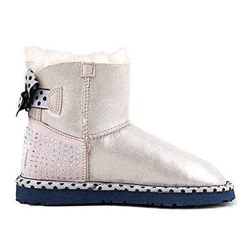 Shenduo Bottes hiver femme cuir, Boots Classiques courtes doublure chaude en laine D9528 Blanc