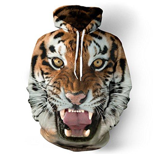 k Hoodie Kapuzenpullover Langarm Sweatshirt Weihnachten Halloween Hoodie Kapuzenjacke mit Taschen QYDM014 Tiger XXL/XXXL ()
