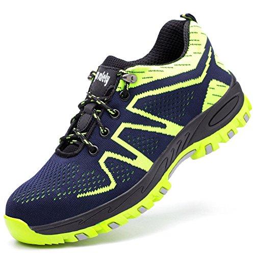 Calzado de Trabajo Hombre Mujer Zapatillas de Seguridad con Puntera de  Acero Antideslizante Transpirables Unisex Verde 2ca961c12c72