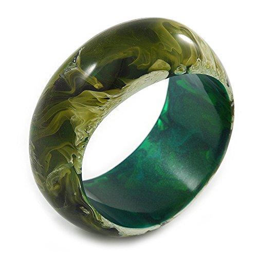 Avalaya-Armreif, Acryl, asymetrisch mit Marmor-Effekt, groß, 20 cm, Grün