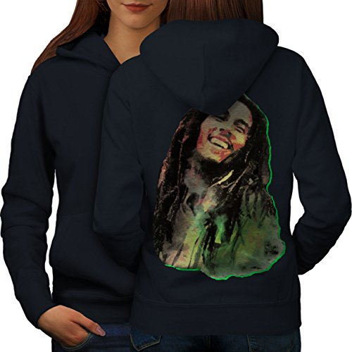 Bob Marley Souriant Femme S-2XL Sweat à capuche le dos | Wellcoda Bleu