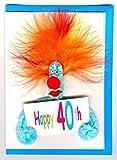 40 Geburtstag Puffy Karte von ZZ-Design Pfeifenreiniger Jedes Motiv in anderen Farben 16x12cm