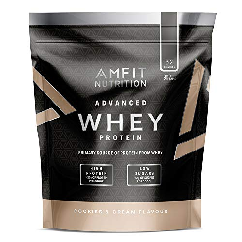 Marchio Amazon - Amfit Nutrition Mix di proteine Whey del siero di latte gusto Cookies & Cream, 32 porzioni, 990 g