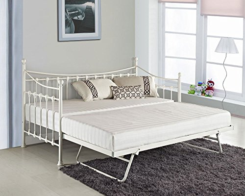 KOSY KOALA VERSAILLES GLOSSY VANILLA DAYBED WITH UNDER BED TRUNDLE 3FT SINGLE DAY BED FRAME AVAILABLE IN BLACK