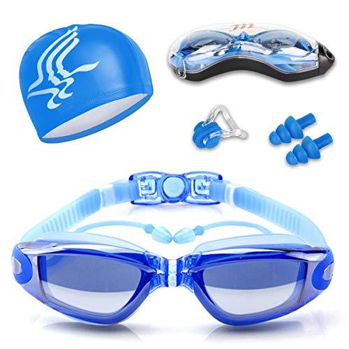 Guzack Schwimmbrille, Anti-Fog UV-Schutz Beschichteter Linse Kein Auslaufen Schwimmen Brillen, mit Kostenloser Badekappe, Nase Clip, Ohrstöpsel, für Erwachsene, Kinder Männer und Frauen