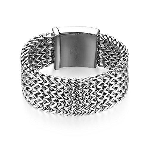 JewelryWe Schmuck Herren Armband, 30mm Breit Groß Schwer Hochglanz Poliert Panzerkette Gliederkette Armkette, Edelstahl, Silber, kostenlose Gravur