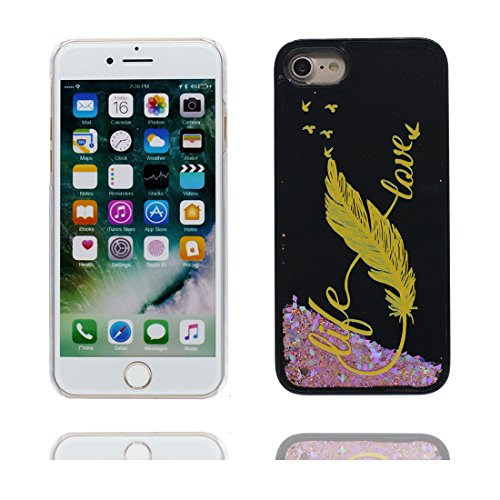 "Hülle iPhone 6, [ Liquid Fließendes Glitzer Bling Bling Herzförmig] iPhone 6S Handyhülle Cover (4.7 zoll), Floating sparkles, iPhone 6 Case Shell 4.7"" Anti-Beulen- Feder Schwarz 4"