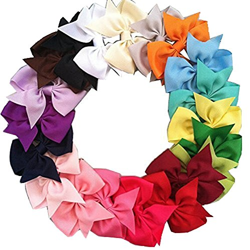 Asien 20pcs Big Hair Bows Boutique Mädchen Alligator Clip Grosgrain Ribbon Stirnband -