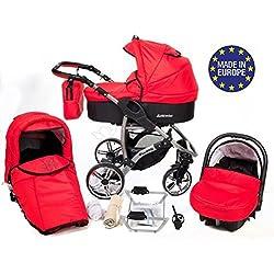 Baby Sportive Allivio - Sistema de viaje 3 en 1, silla de paseo, carrito con capazo y silla de coche, RUEDAS GIRATORIAS y accesorios, color rojo claro
