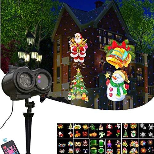 (Weihnachtsprojektor Licht,Wasserdichte LED Effektlicht Scheinwerfer Landschaft Projektor Lampe mit 12 Motiven Dekorative Nachtlicht für Weihnachten Halloween Geburtstag, Hochzeit, Party)