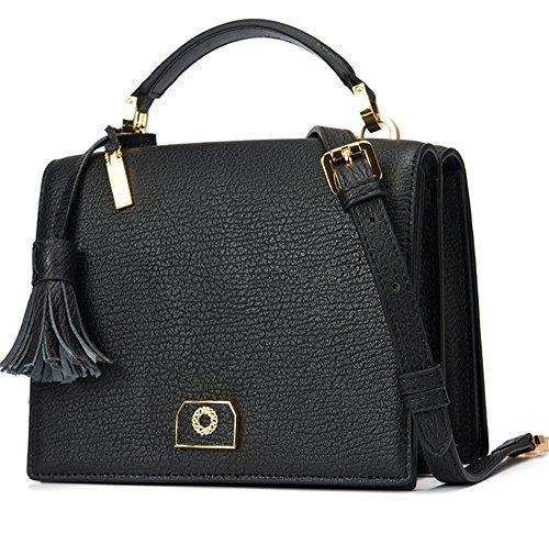 Xinmaoyuan Sacs à main pour femme en cuir véritable petit carré Section verticale sac sacs à main Tassel Black