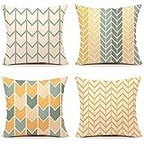 TIDWIACE Orange Gelb Kissenbezüge Baumwolle und Leinen Kissenhüllen mit Geometrischen Mustern für Sofa Haus Zimmer Auto…