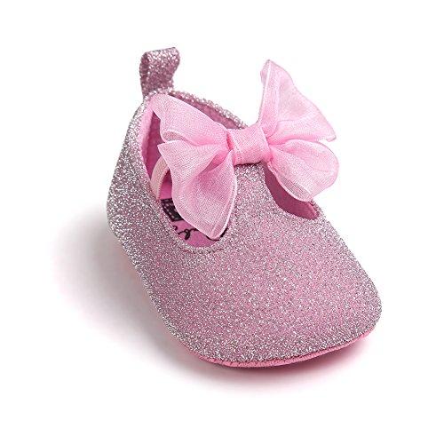 Chaussures à chaussures confortables pour bébés tout-petits Chaussures douces et antidérapantes pour le glitter avec Bowknot pour 0-18 mois Filles Printemps été Automne Wearing (Rose, M) Rose