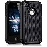 kwmobile Funda para Apple iPhone 4/4S - Case híbrida de TPU silicona - Hard Cover en negro