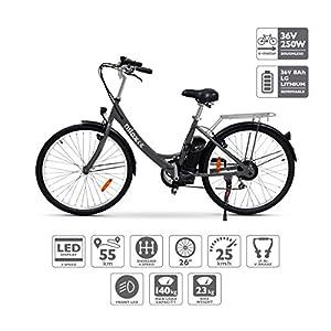 51Zednk7KqL. SS300 Nilox E Bike X5, Bicicletta Elettrica City Bike a Pedalata Assistita, Ruote 26'', Velocità 25km/h, Autonomia 55km, Nero