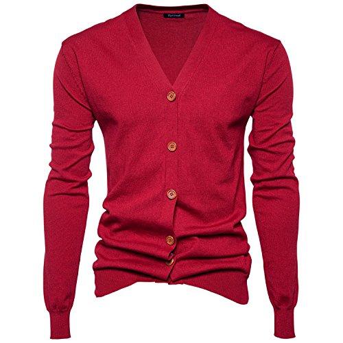 Burgund Strickjacke (HY-Sweater Knitwear Herbst und Winter's Fashion Men College Stil Farbe Base Pullover Stricken Strickjacke, Burgund, L)