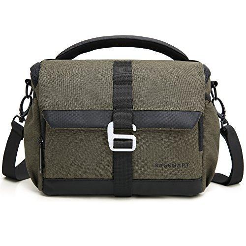BAGSMART Kameratasche DSLR SLR Fototasche mit Regenschutz für Nikon Canon Sony Pentax Olympus Fujifilm Panasonic Spiegelreflexkamera (Dunkelgrün)