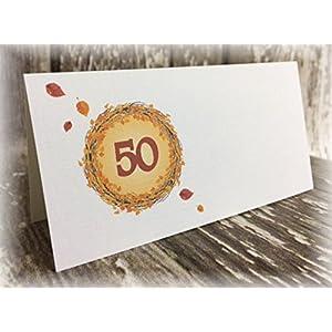 Tischkarte Namenskarte Blätter runder Geburtstag 40 50 60 70 80 90 Tischdeko personalisierbar dunkelrot orange Herbst ...