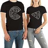 VivaMake® 2 Partnerlook T Shirts Für Damen und Herren mit Lustige Aufdruck Pizza Liebe