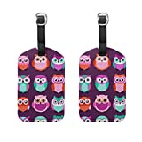 COOSUN Owls Birds Purple Pattern Luggage Tags Travel Labels Tag Name Card Holder for Baggage Suitcase Bag Backpacks, 2 PCS