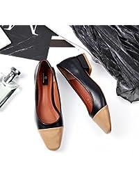 Cabeza cuadrada de moda de colores claros con un único hechizo áspero zapatos femeninos retro de primavera y verano...