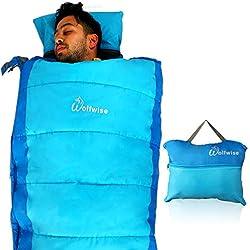 WolfWise Sacos De Dormir Rectangulares Impermeable,Ligera Portátil Con Bolsa De Almacenamiento,Bolsa De Dormir Para Camping,Senderismo,Azul