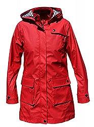 Batela Damen Regenmantel 3/4 Länge Friesennerz mit Innenfutter, Farbe:rot, Größe:48
