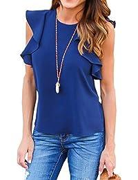 92a21ce2fb33 Freestyle Estivo Donna T-Shirt Foglie di Loto Maniche Girocollo Bluse  Sottile Camicie Maglietta Shirt