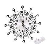 WOSOSYEYO Reloj de Pared Oversize Large Flower Art Metal Modern Luxury Diamond Silent Clock