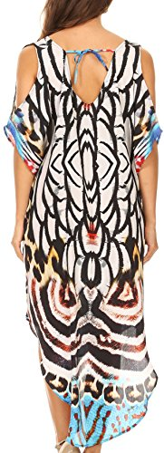 Sakkas Jelani Ciao Low V-collo fuori dalla spalla stampato abito con strass 17225-White / leopardo