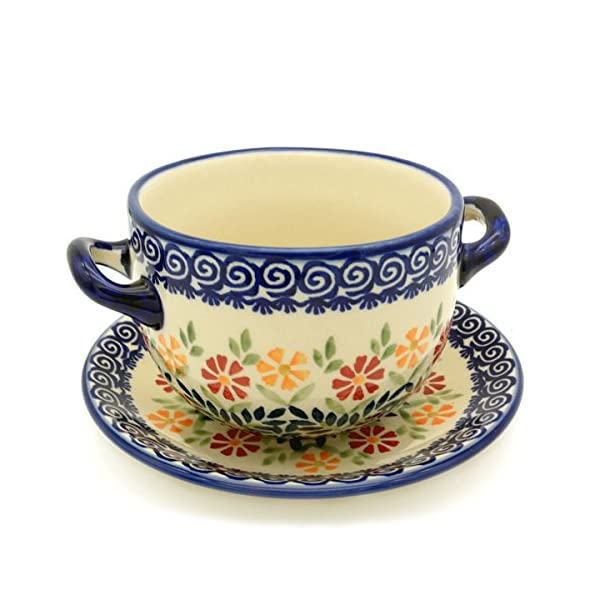Bunzlauer Keramik Manufaktura Hand-Decorated Polish Pottery Soup Cup with Saucer Dekor Adelheid