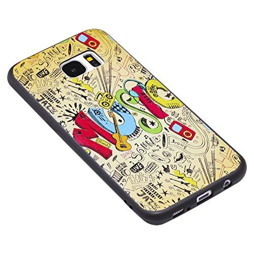S7 Edge Hülle ,Samsung S7 Edge Shell Case , Galaxy S7 Edge Black Hülle, Cozy Hut® [Liquid Crystal] [Matte Black] [With Lanyard/Strap] Samsung Galaxy S7 Edge Ultra Slim Schutzhülle ,Anti-Scratch Shockp Dynamische Musik
