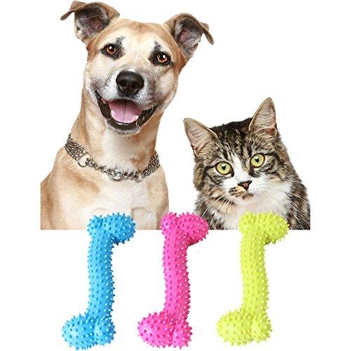 ODJOY-FAN Haustier Spielzeug Stimme Gummi Knochen Hunde Spielzeug Gummi Molar Zahn Knochen Spielzeug Hunde Beißen Beständig Molaren Ausbildung 10 * 3,5 * 2 cm(Random,1 PC) -