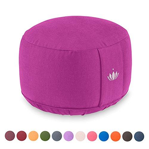 Lotuscrafts Yogakissen Meditationskissen Extra Hoch – Sitzhöhe 20cm – Waschbarer Bezug aus Baumwolle – Yoga Sitzkissen…